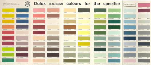 British Standard 2660 Colour Range. 1960s Paint Colours