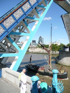 Tower Bridge being raised