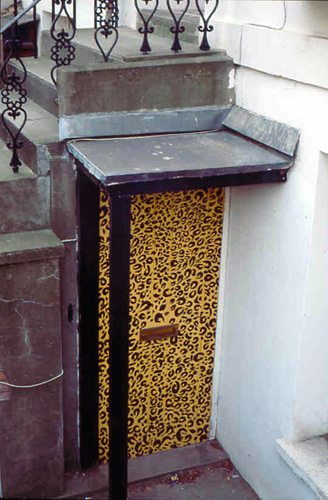 A Leopard skin painted Door in North London