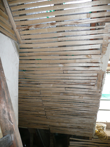 New lath put up for subsequent plastering