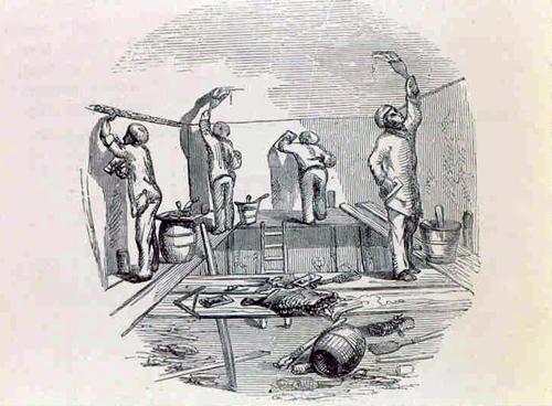 Plasterers applying distemper