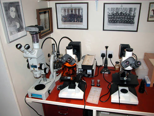 The microscopes that Patrick Baty uses for paint analysis