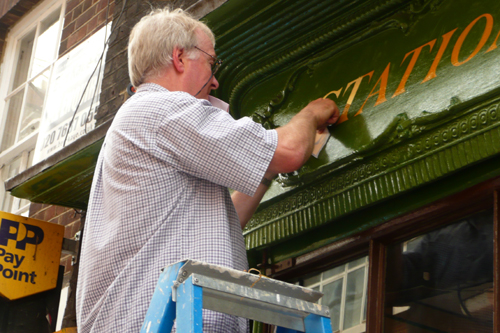 Signwriting with gold leaf - copyright David Bieda