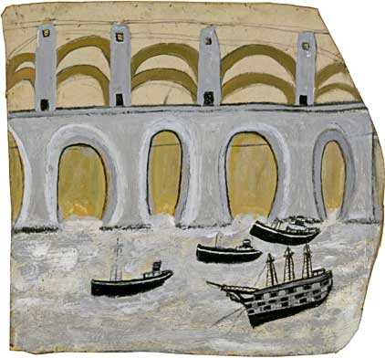 Boats under Saltash Bridge (Royal Albert Bridge) by St Ives artist Alfred Wallis