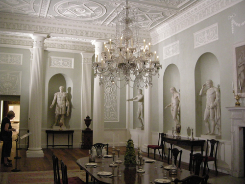Patrick Baty was asked to assist with the analysis of the paint on the walls of the Lansdowne House and Kirtlington Park Dining Rooms