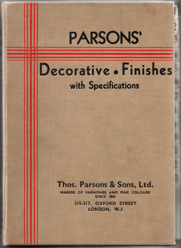 A catalogue of paints produced by Thomas Parsons & Sons in the 1930s