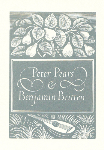 Peter Pears and Benjamin Britten bookplate - Reynolds Stone