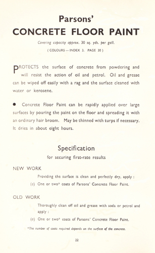Paint produced for concrete floors by Thomas Parsons & Sons in the 1930s