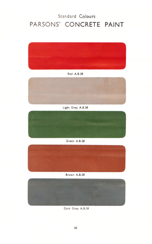 Samples of Concrete Paint produced by Thomas Parsons & Sons in the 1930s