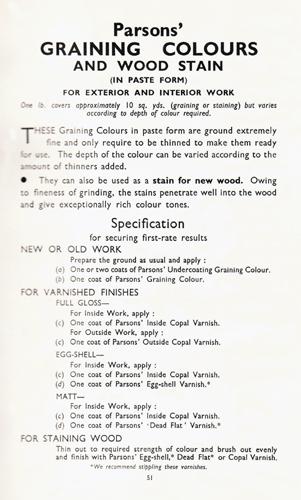 Parsons' Graining colours text
