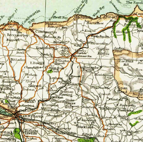 Extract from a 19th Century map of the route of the Lynton & Barnstaple railway (1898-1935)