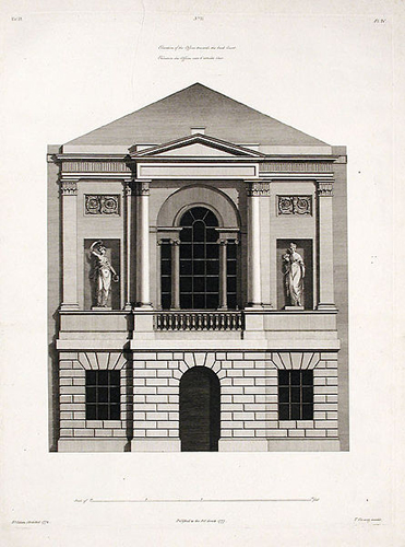 Elevation of the offices towards the back court 1777