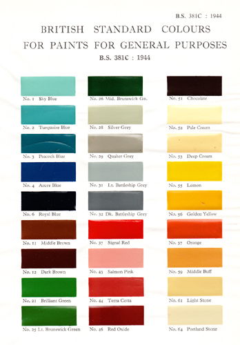 BS381C: 1944 - Colours for Ready Mixed Paints