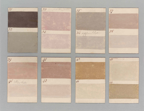 Colour samples produced for Barnbarroch House in 1807
