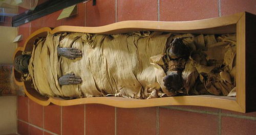 An Egyptian mummy kept in the Vatican Museums - © Joshua Sherurcij