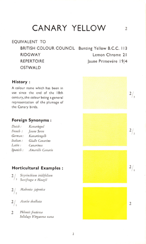 Wilson Colour Chart - Canary Yellow