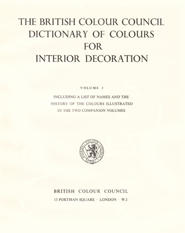 British Colour Council - Dictionary of Colours: title page