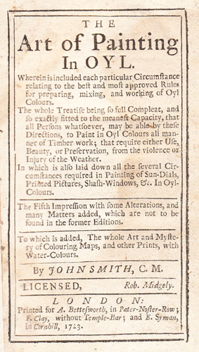 John Smith's Art of Painting - 1723 edn
