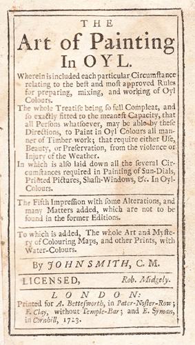 John Smith's Art of Painting - 1723 edn