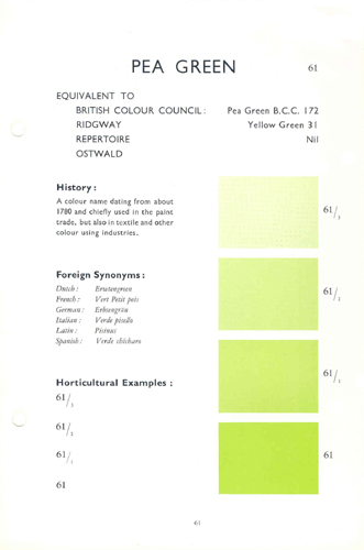 Horticultural Colour Chart - Pea Green