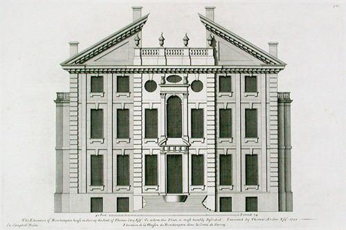 Roehampton House Facade from Vitruvius Britannicus