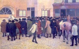Robert Bevan - A Horse Sale at the Barbican