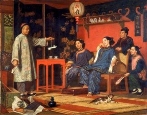 John Evan Hodgson. Chinese Ladies Looking at European Curiosities.