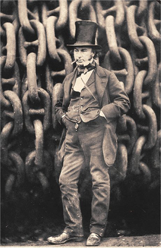 Isambard Kingdom Brunel by the launching chains of the SS Great Eastern by Robert Howlett, 1857