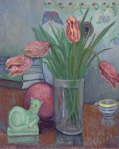 Still life with Tulips and Sculpture by Henri Gaudier Brzeska. post 1915